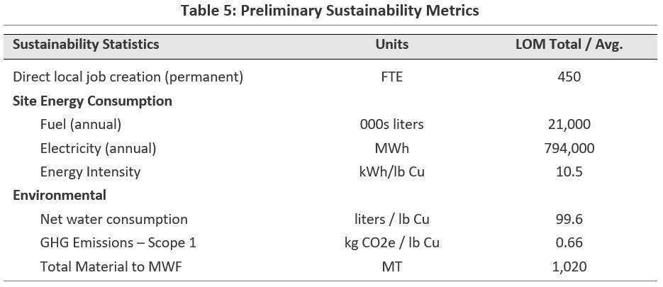 Preliminary Sustainability Metrics