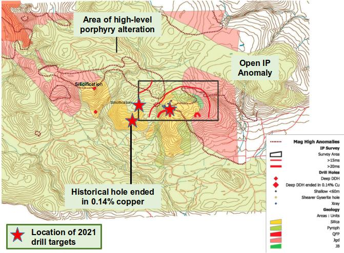 Pemberton Hills Alteration Including 2021 Planned Drill Holes
